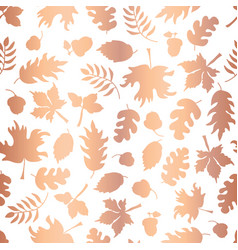 rose gold foil autumn leaf silhouette pattern tile vector image