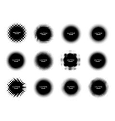 round halftone shape frames black circles with vector image