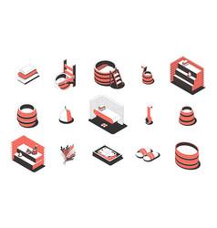 sauna spa isometric icons set vector image