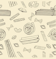 seamless pattern with hand drawn italian pasta vector image