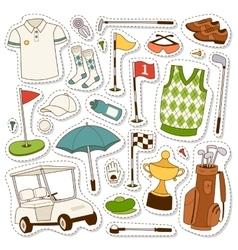 set stylized golf icons vector image