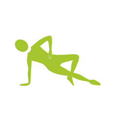 silhouette woman stretching with support in one vector image