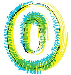 Sketch font Number 0 vector image
