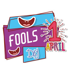 Smiles with first april and fools day celebration vector
