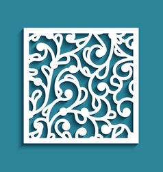 Square panel with cutout paper pattern vector