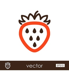 Strawberry outline icon Fruit vector