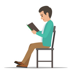 student seating and reading textbook flat vector image