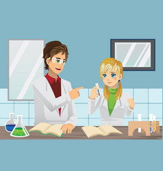 Students in lab vector
