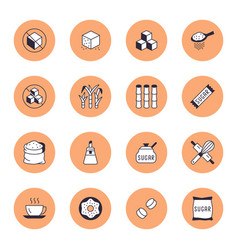 sugar cane cube flat line icons set sweetener vector image