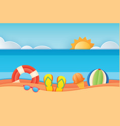 summer time sea view with equipment placed vector image