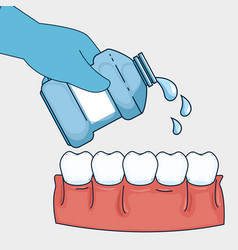 Teeth healthcare hygiene with mouthwash equipment vector