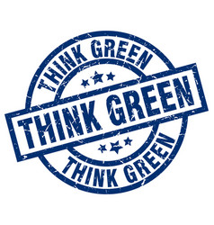 Think green blue round grunge stamp vector