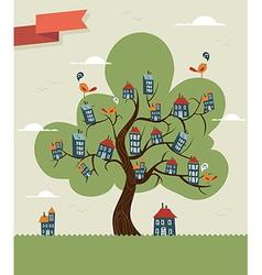 Tree cute city vector