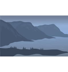 View cliff of silhouette vector