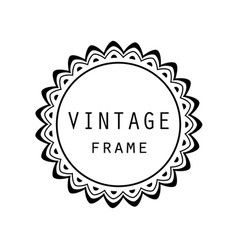 vintage grayscale round frame in a lineart style vector image