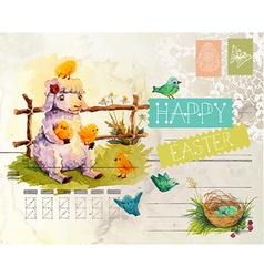 Watercolor vintage style Easter card vector image