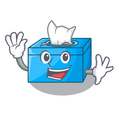Waving cartoon tissue box in the restaurant vector