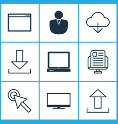 Web icons set with cloud monitor transfer and vector