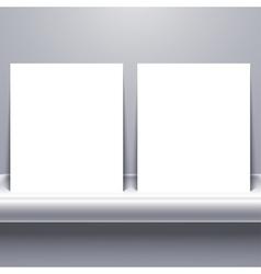 White blank tablet on shelf vector