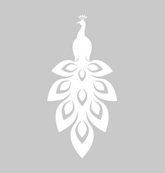 White peacock papercut style vector