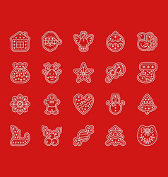 xmas gingerbread simple paper cut icons set vector image