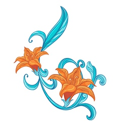 A combination of orange and blue border vector image