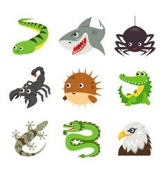 funny animal reptile cartoon vector image