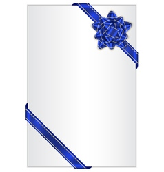 gift background with blue bow vector image vector image