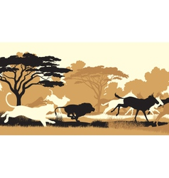 Lions hunting wildebeest vector image