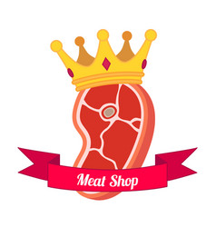 meat logo label for menu shops flat style vector image vector image