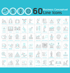 set of business conceptual thin line icons vector image vector image