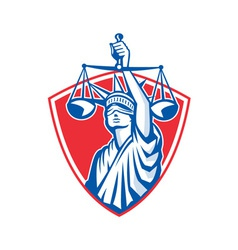 Statue of Liberty Raising Justice Scales Retro vector image