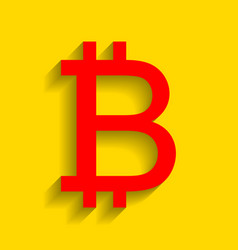 bitcoin sign red icon with soft shadow on vector image vector image