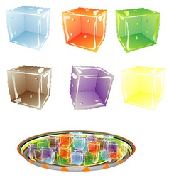 Colored Ice cube vector image vector image