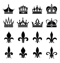 Crown and fleur de lis lily flowers icons vector image vector image
