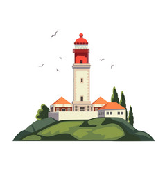 lighthouse on coast of sea lighthouse vector image