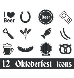 12 Oktoberfest icons set vector image