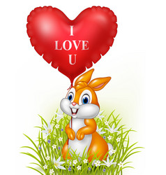 cartoon rabbit holding red heart balloon vector image vector image