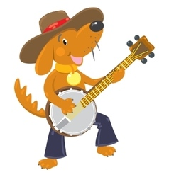 Funny brown dog plays the banjo vector image vector image