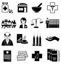 Pharmacy icons set vector image vector image