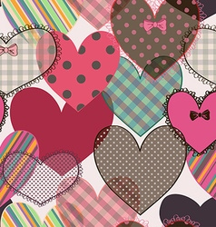 Seamless pattern of scrapbook hearts vector image vector image