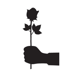 Black silhouette of a hand with a flower vector image vector image