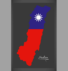 hualian taiwan map with taiwanese national flag vector image vector image