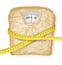 Weighing scales in form of a bread slice and vector image vector image