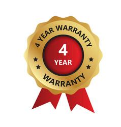 4 year warranty badge year warranty logo photo vector