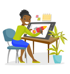 A black woman graphic designer works at the office vector
