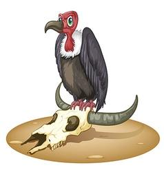 An angry bird above the animals head vector