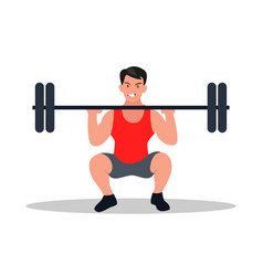 an athlete in a half-squat holds a barbell vector image