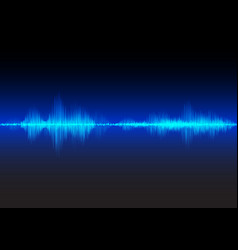 blue sound waves glow light vector image