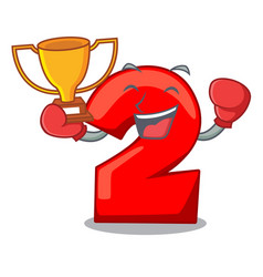 boxing winner number two red isolated on mascot vector image